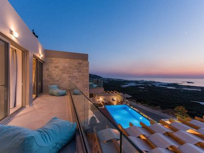Photo for Double luxury villa with amazing sea & sunset view, ideal for big groups