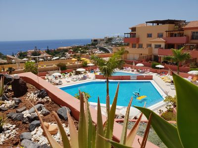 Photo for Terrazas del Duque 2, terrace,sea view, only 300m to the beach, heated pool,wifi
