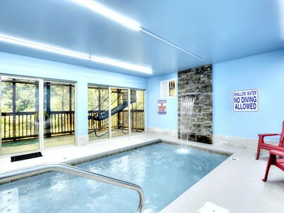 Photo for Zip & Dip Luxury Cabin - Indoor/Outdoor Pools, Hot Tub, Theater, Game Room