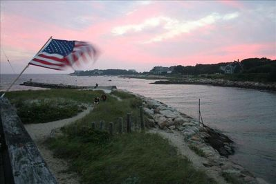 Sunset from the deck, view towards Nyes Neck and Buzzards Bay