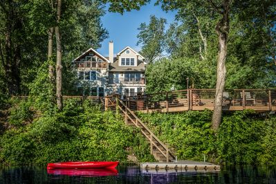 House is right on the river with private dock. Peaceful location.