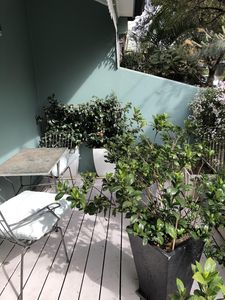 Sun-drenched terrace overlooking park