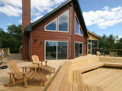 Eagles Nest Cabin - view from the lake side. 1,500 sq foot deck