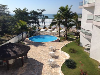 Photo for Beautiful Ap 130m2 sea front foot in the huge sand sea view terrace Toninhas Ubatuba
