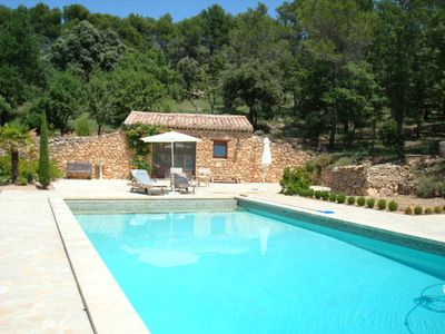 The swimming pool and pool house