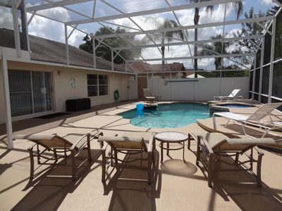 Photo for 3 BR Private Pool Home 5miles from Disney - Free Pool & Spa Heat + Gas Grill