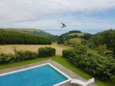 Photo for Country House by sea with heated outdoor pool in 32 acres & stunning sea views