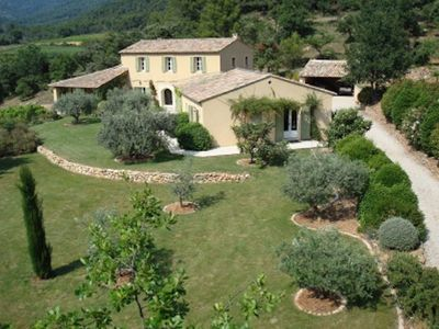 Photo for Stunning family house & pool close to Mt Ventoux set in woodland and vineyards