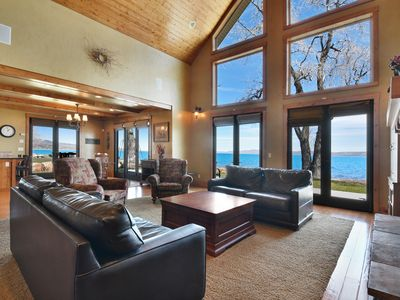 Photo for Lakefront home w/ home theater, large deck, great views, firepit & 2 fireplaces!