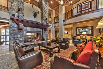 Relaxing lobby with oversized fireplace