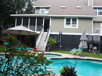 Photo for Warm inviting plantaton style beach home with pool and hot tub - walk to beach