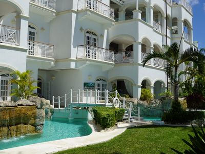 Photo for Beachfront 3 bedroom apartment at Paynes Bay Beach