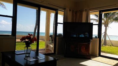 "Living Room with Panoramic Ocean Views & 50"" Flat Screen TV with Roku and Netflx"