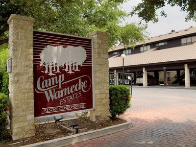 Front Entrance - Camp Warnecke is a gorgeous retreat located in the center of town on the Comal River and right across the street from Schliterbahn Waterpark!