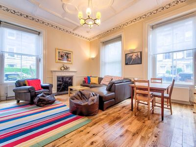 Photo for Spacious 4-bedroom Main Door Apartment by the Meadows & George Square - perfect for Fringe!
