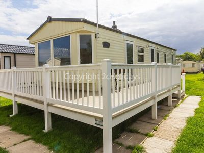 Photo for 8 berth caravan for hire at Broadland Sands with decking Suffolk ref 20213