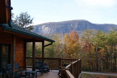 Fall view of Rumbling Bald Mountain from upper deck