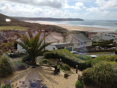View across Woolacombe Bay from the lounge front windows, check out the surf!