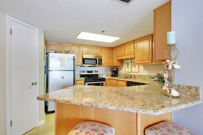 Fully Equipped, Upgraded Kitchen with Stainless Steel Appliances and Granite Counter Tops