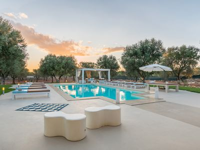 Photo for NEW LISTING! Dog-friendly, modern villa w/ a private pool & gym in an olive park