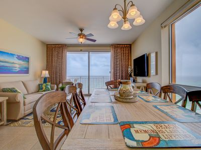 Photo for Water Park On Site! 2 Gulf Front Master Suites! Corner Balcony Views!Sleeps 9