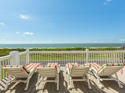 Photo for Beautiful 4BR Beachfront Gem w/ Private Balcony & Gulf View, 1 Block to Shore