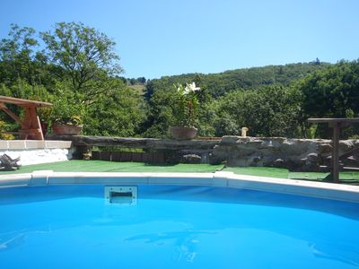 Photo for Pretty stone cottage, heated pool, woodland view, terrace, big balcony & garden