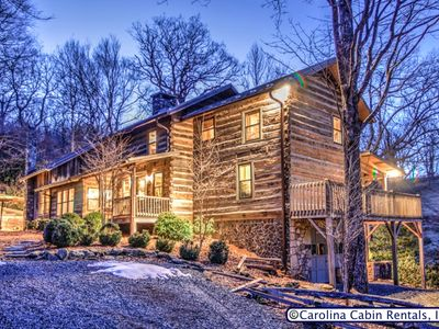 Photo for 5BR Cabin, Rustic, Unique, Hot Tub, Game Room, Firepit, Great Location Between Boone & Blowing Rock