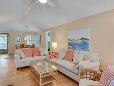 Photo for Peaceful Fairway Views Pet Friendly with Sun Room and Private Wi-Fi Bike to the Beach in Minutes