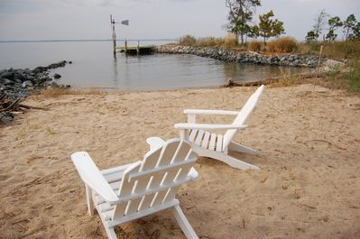 Relax on our beach or fish off of the dock...