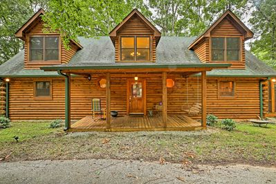 The lakefront property offers all the comforts of home in an updated cabin.