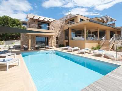 Photo for Contemporary Villa, 4 bedrooms and a studio, with pool and sea view Arasu