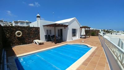 Photo for Detached 3 bed upmarket  Villa with Private Pool and unspoilt view to the ocean.