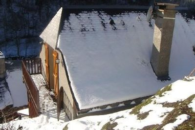balcony in winter overlooks the village