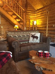 Photo for Experience pure Michigan! Log cabin, private wooded setting 2 min to Crystal Mtn