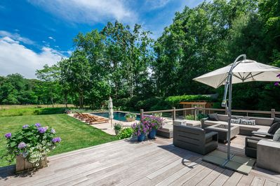 Beautiful, private backyard with outdoor living room, fire pit, speakers, BBQ