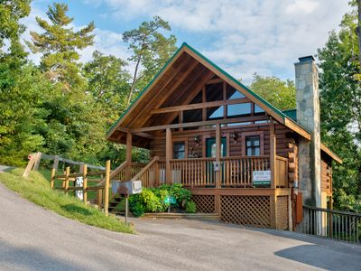 Photo for Dog-friendly cabin w/ private hot tub & shared seasonal pool near Ntnl Park!