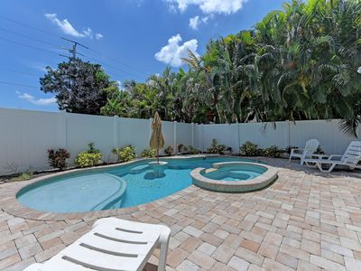 Photo for 3 bed 2 bath single family home on quiet street *Heated Pool & Spa* Free Wifi close to beach