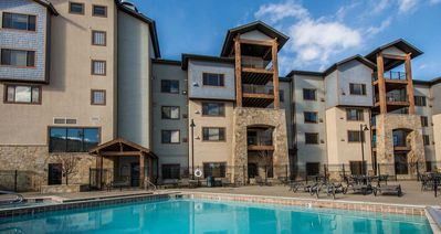 Photo for resort property, hotel room with king, balcony, fireplace, pool, steps to skiing and golf, enjoy SV223A