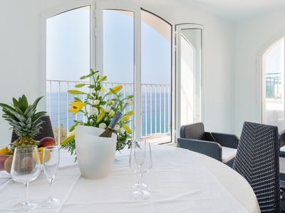 Photo for Exclusive new apartment, 30 mt. Sea, herrl. Panoramic sea, Covered. gr. Terrace