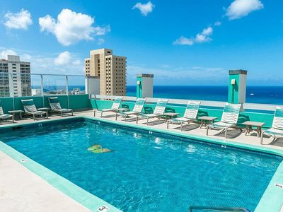 Photo for 1BR w/Ocean View & WiFi 2 Blocks From Waikiki-Free Resort Shuttle, Rooftop Pool
