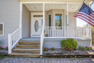 Front Porch enjoys views of wetlands (eagles) across the street
