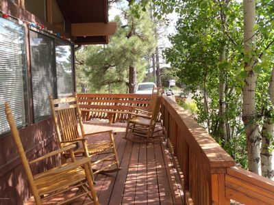 Rock and relax on shady  front deck