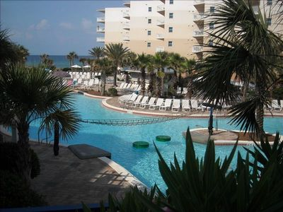 Photo for Courtyard & Gulf  View ! Beach Service / 1 BR 2 BA  Sleeps 4 / B428