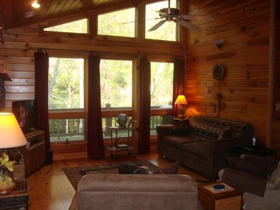 Living Room looks out on Creek