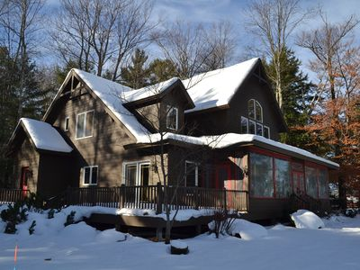 Photo for Lovely lodge style waterfront home, air conditioning, fireplace