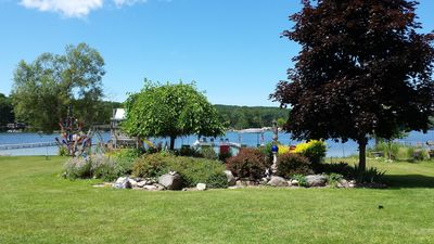 View of lake from your patio area {walkout Lower Level Cottage}