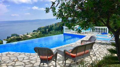 Photo for Lara Villa - Lovely Well Located Villa with Private Infinity Pool and Spectacular Panoramic Sea Views close to the resort of Benitses! - Free WiFi