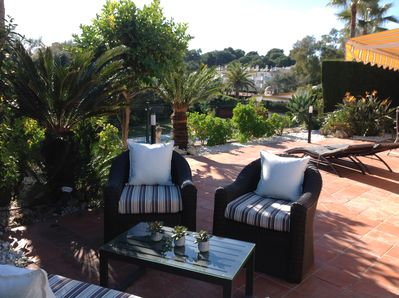 Private terrace overlooking the 12metre pool, this picture taken in January