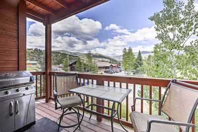 The 2-bedroom, 2-bath condo features a furnished deck with panoramic views.